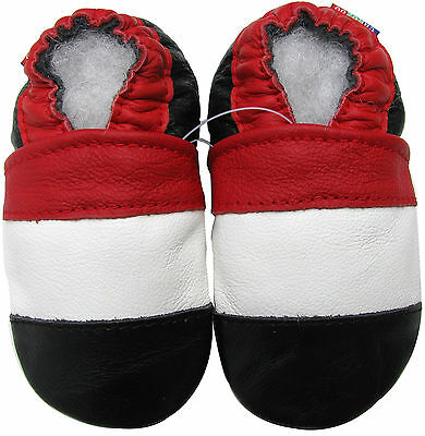 carozoo soft sole leather baby shoes red white black 18-24m