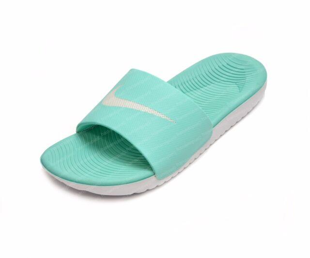 a3cbec0f833b6 New Nike Kawa Slide Women s White Gray Logo Slides Sandals sz 6 or 8 ...