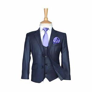 Details About Boys Formal Dress Wear Suit Dark Blue Children Wedding Prom Party Suits 5pc