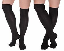 2 Pairs - V-Toe Over The Knee Black Flip Flop Tabi Socks