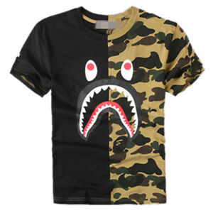 5afa8658 Men's Shark Mouth Black & Green 2-COLOR Double Camo T-Shirt Tee Size ...