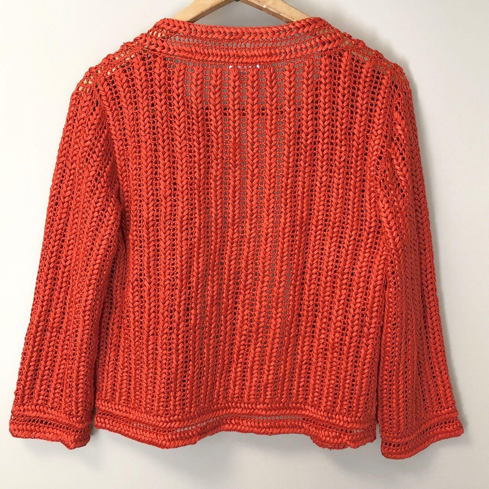 0727ee98e3dd ... Oscar de de de la Renta Womens Hand Crochet Ornate 100% Silk Open Cardigan  Sweater ...