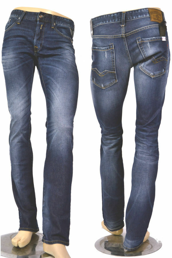 REPLAY Jeans m983 Waitom 93c 438 BLU BLU BLU SCURO REGULAR SLIM 12oz Denim Nuovo 1f761c