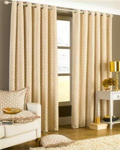 Beige 229 x 229 cm Riva Paoletti Belmont Geometric Eyelet Curtains Pair