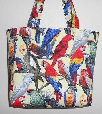 Handmade  Colorful Parrots  Tote Purse Bag