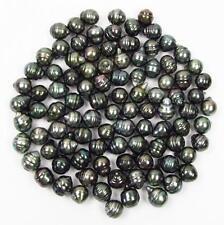 10 pcs 9-10mm Undrilled Circle Baroque Loose Tahitian Black / Green Pearl