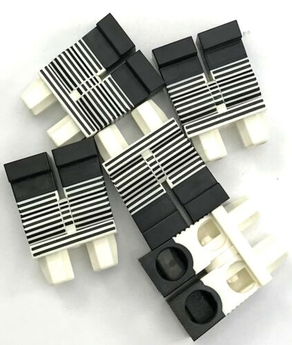 Lego 5 New White Hips and Legs with Black Narrow Stripes Pieces