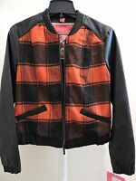 Nwt-$77 -collection By Bernardo Poly Blend Red/black Plaid Faux Leather Jacket-m