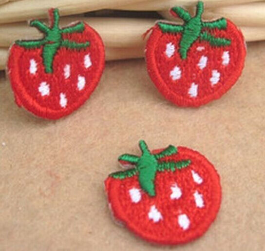 FD811 Embroidered Cloth Iron On Patch Sew Motif Applique Strawberry 3pcs~Red~#