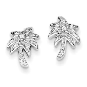 925-Sterling-Silver-Polished-CZ-Palm-Tree-Post-Earrings