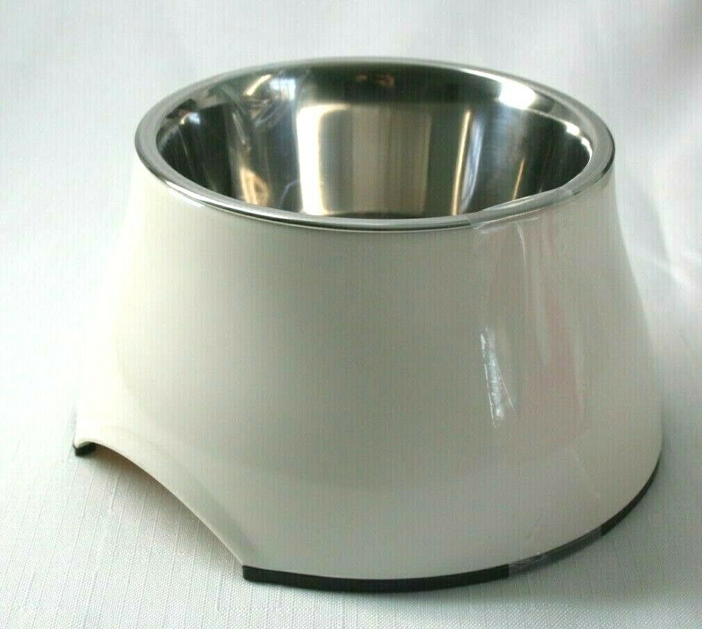 Elevated Dog Bowl Raised Dog Feeder for Food and Water 10.1 fluid oz. off white