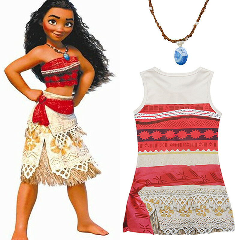 2018 Moana Disney Costume Hawaiian Princess Fancy Cosplay Dress Amp Necklace Outfits Set Best