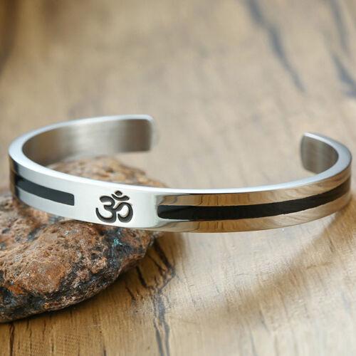 Cuff Bracelet for Men Women Stainless Steel Inspired Meditate Jewelry