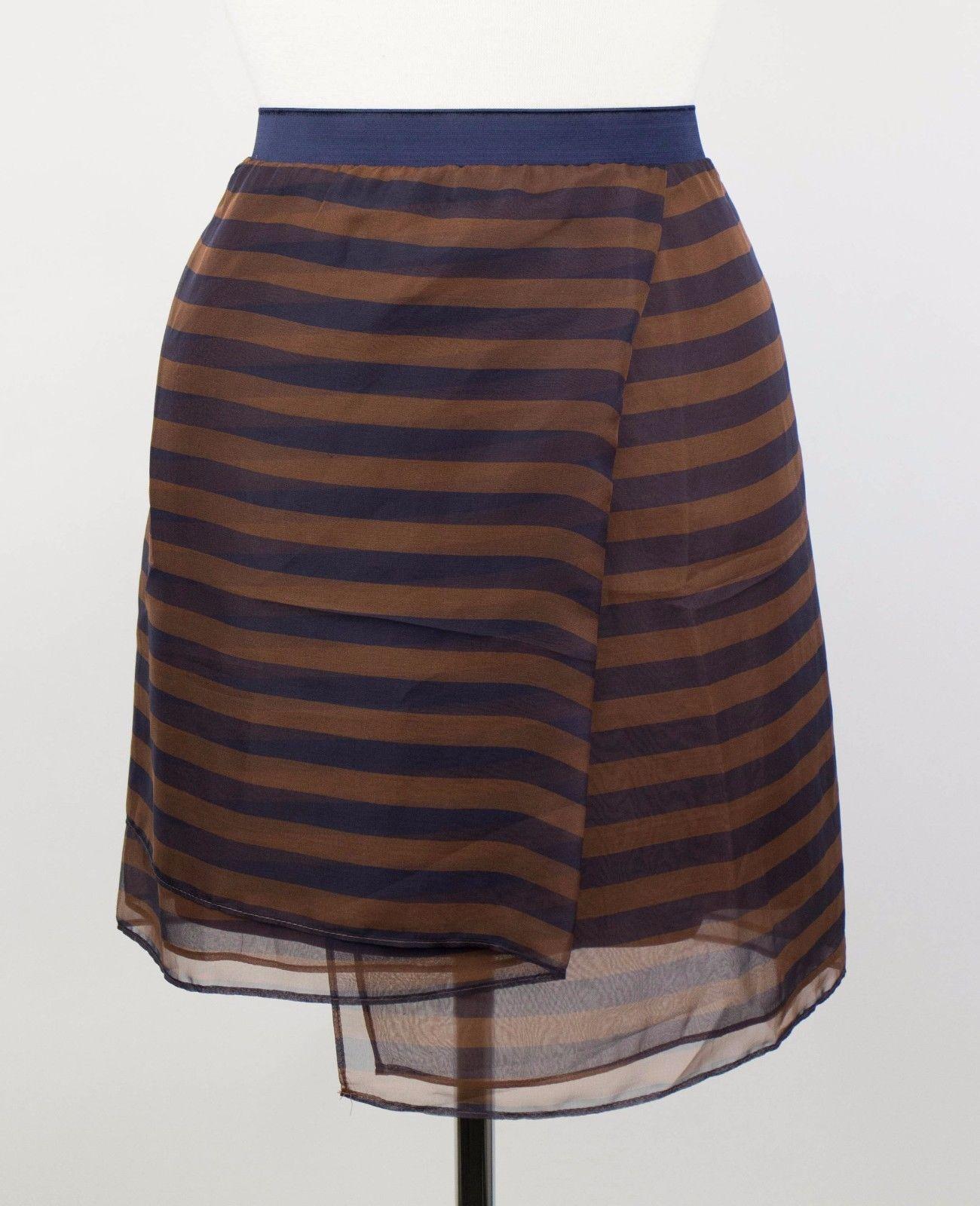 NWT BRUNELLO CUCINELLI Women's Brown bluee Striped 100% Silk Skirt 8 44  1375