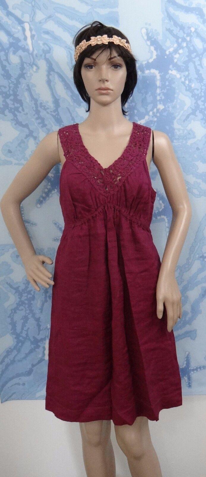 NWT STUDIO M linen deep purple sleeveless crochet neck detail dress, size L