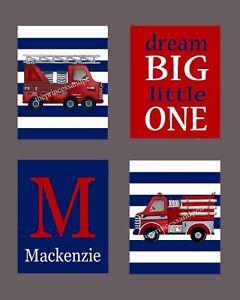 Details About Vintage Firetruck Nursery Wall Art Print Fire Trucks Bedding Decor Picture