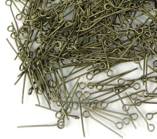 Bulk 500 Eyepins Antique Bronze Eye Pins 21 Gauge 20mm long