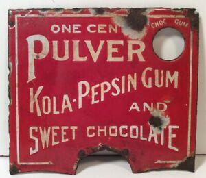 ORIGINAL-ANTIQUE-PULVER-KOLA-PEPSIN-GUM-CHOCOLATE-VENDING-MACHINE-PORCELAIN-SIGN