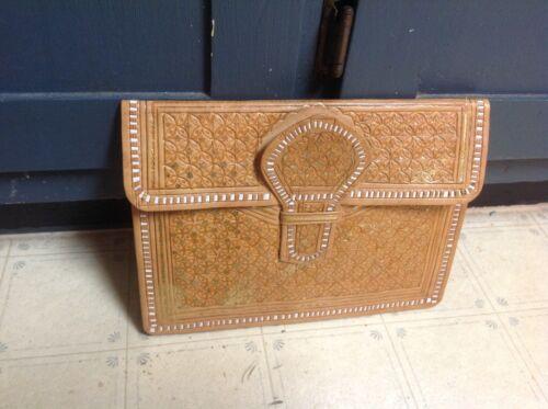 Vintage 70s Calf Leather Envelope Clutch Wallet Ba