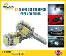 2x 5 SMD LED 501 T10 WSW Canbus NO ERROR INTERIOR & SIDE Xenon White Light Bulb