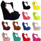 Womens Ladies High Heels Platform Open Toe Wedges Exclusive Shoes UK Size 2-9