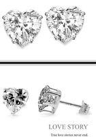 Fine 925 Sterling Silver Heart Earrings Crystal Cz Studs Love 6mm
