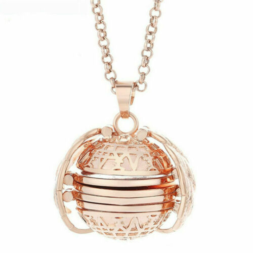 Expanding 5 Photo Locket Necklace Ball Angel Wing Pendant Family Tree Necklace