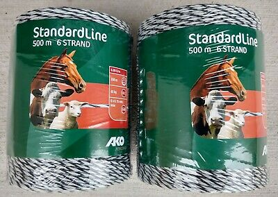 Poly wire 500m x 3mm 6 Strand Electric Fence Wire x 2 Rolls