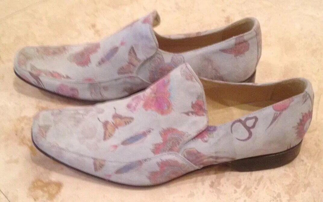 JONES Bootmaker Suede Butterfly Floral bluee Loafer shoes Men's 12M  Rare