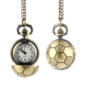 Retro-Soccer-Ball-Shape-Bronze-Quartz-Pocket-Watch-Chain-Necklace-Jewelry-Gifts