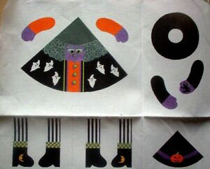 KWC-6009-Halloween-Witch-3D-Doll-13ct-HP-Hand-Painted-Needlepoint-Canvas