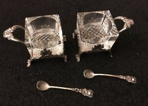 GERMAN-PAIR-TWO-CUT-GLASS-amp-800-SILVER-HANAU-FOOTED-SALT-SALTS-amp-SPOONS