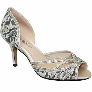 a5d742e7238 FLR358 ZARA Ladies Peep Toe Diamante Mesh Slip On Court Shoe Low ...
