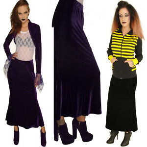 PURPLE-BLACK-VELOUR-FIT-AND-FLARE-LONG-SKIRT-STEAM-PUNK-GOTHIC