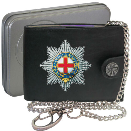 Coldstream Guards Army on Mens Wallet Real Leather RFID Chain Keyring BOX