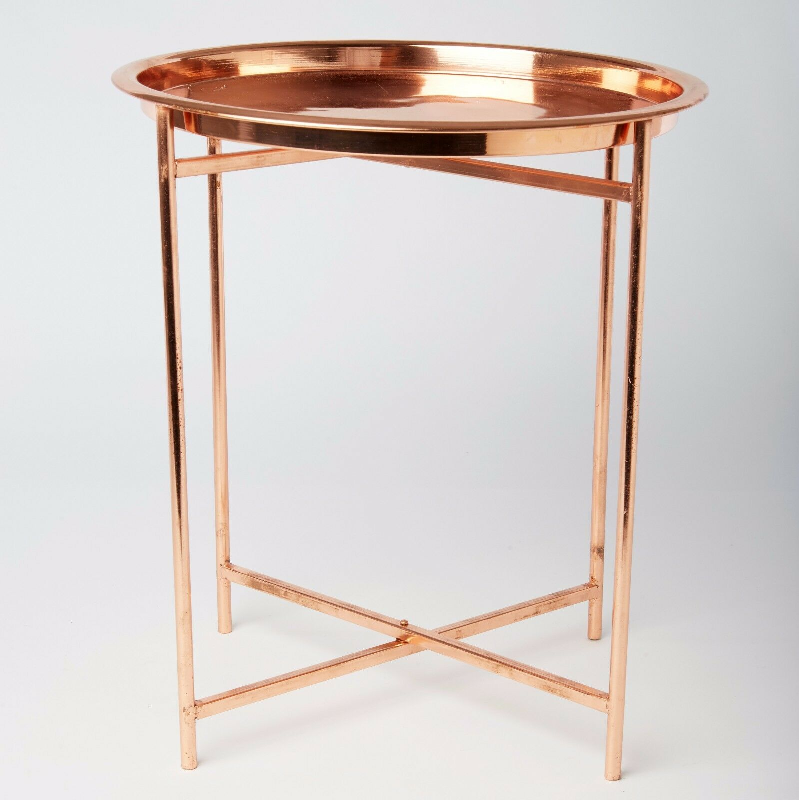 Coffee Table Copper Tray: Small Folding Round Copper Coffee Side Table Contemporary