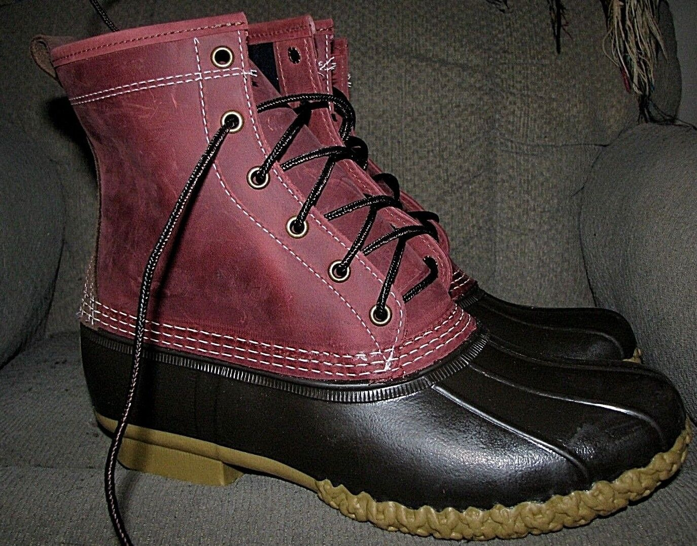 Men's L.L.BEAN Duck Boots (Small Batch Limited Edition) Maroon  Brown (Size 10)