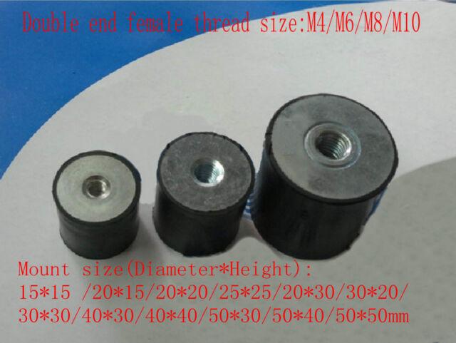 15x15 20x15 25x25 30x30 40x40mm Double end Female Thread M4/6/8/10 Rubber Damper
