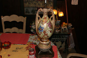 Antique French Style Urn Shape Table Lamp Hand Painted
