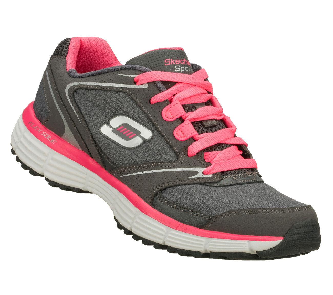 Skechers Agilidad-Rewind' ' Damas gris rosado Brillante Ligero Running Zapatillas