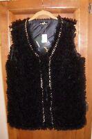 Joan Boyce Black Mongolian Faux Fur Sleeveless Vest Size M/l Chest 41 Hsn
