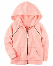 Carter's Girl Neon Peach French Terry Zip-Up Hoodie W/Gold Trim & Pockets (6M)