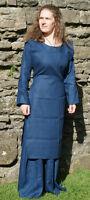 Medieval-dark Age/viking Blue Linen Hangerock Apron Dress All Sizes Plus Sizes