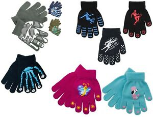 3 Pairs Kids Magic Gloves With Football Grippers Stretchy Black Warm Winter Accessory One Size