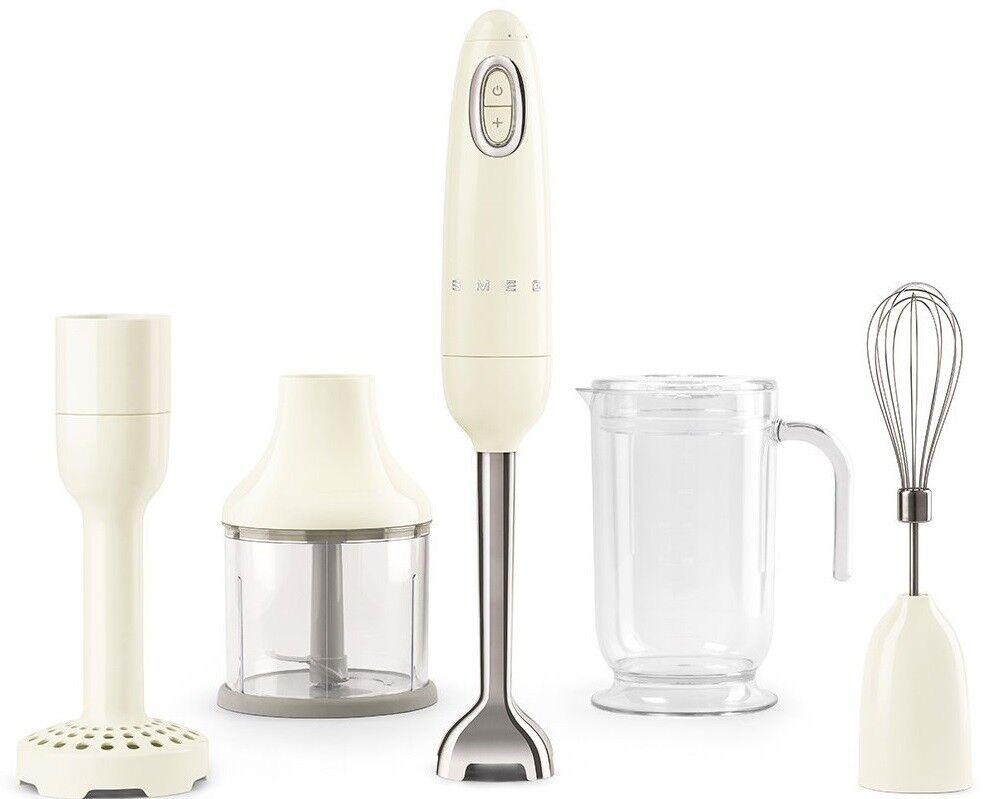 SMEG 50's Retro Style Aesthetic Hand Blender w Masher Chopper Beaker Whisk Cream