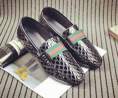 Mens pu leather slip on round toe flat heel loafers casual driving shoes new