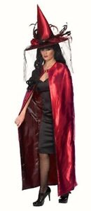 Ladies-Witch-Cape-Red-Black-Reversible-fancy-dress-costume-womens-Halloween