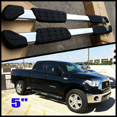 """For 2007-2018 Toyota Tundra Double Cab Crew Black 4/"""" Oval Steel Side Step Bar"""