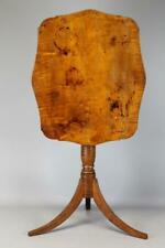 GREAT 18TH C CT FEDERAL TILT TOP CANDLESTAND IN THE BEST SCREAMING TIGER MAPLE