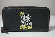 Coach X Keith Haring Liberty Black Pebbled Leather Zip Accordion Wallet 11805